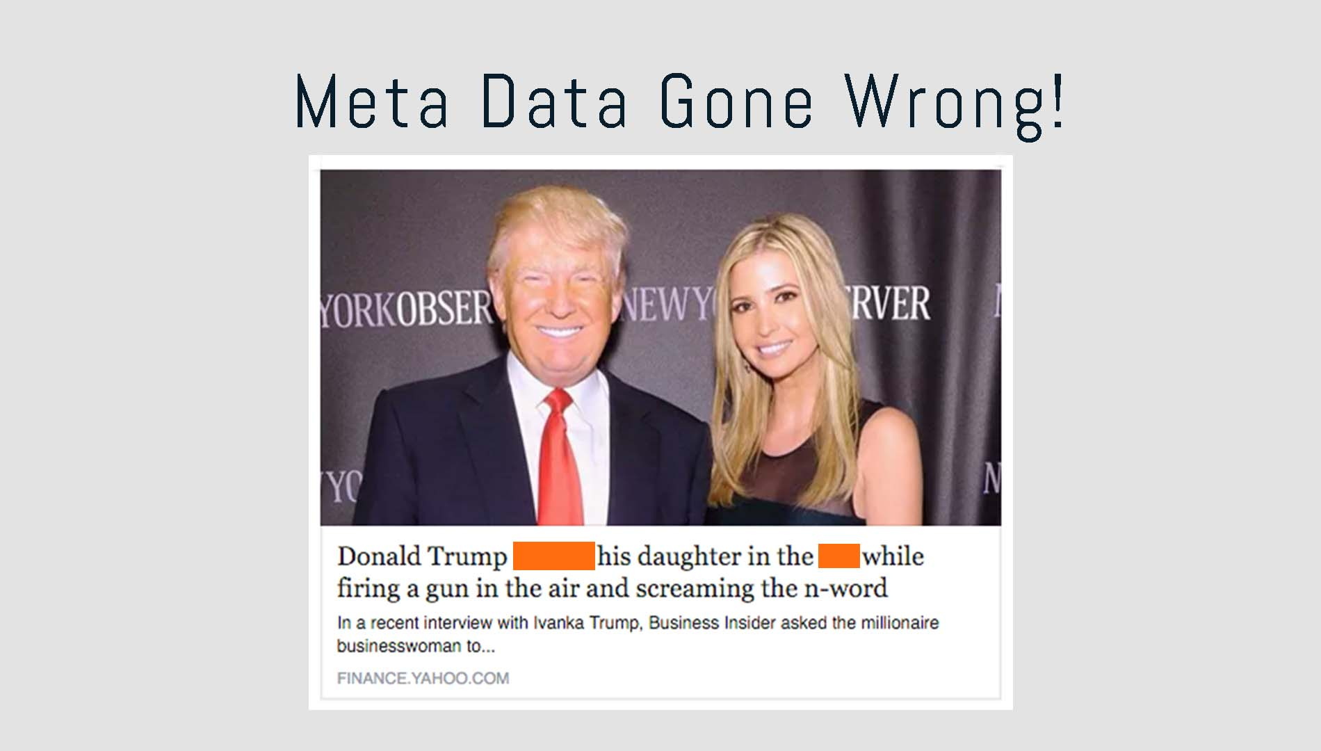 Yahoo Finance messes up meta data on Donald Trump Article